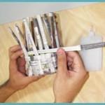 6. Vire as pontas que sobraram para dentro, corte o excesso e cole-as.