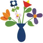 Para fazer um buquê, comece com o vaso e as flores. Corte os talos e cole-os por último.
